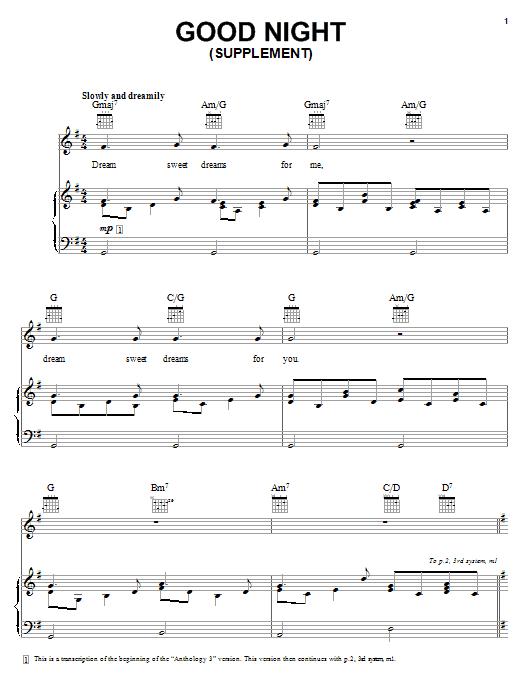 Partition piano Good Night de The Beatles - Piano Voix Guitare (Mélodie Main Droite)