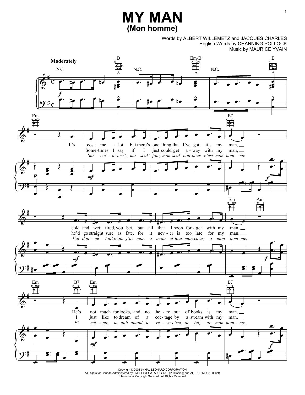 Partition piano My Man (Mon Homme) de Albert Willemetz - Piano Voix Guitare (Mélodie Main Droite)
