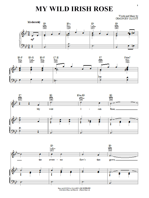 Partition piano My Wild Irish Rose de Chauncey Olcott - Piano Voix Guitare (Mélodie Main Droite)