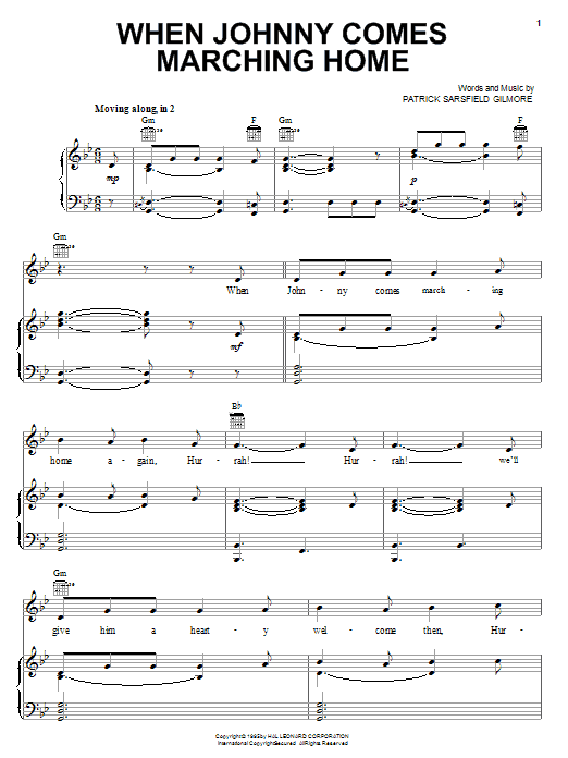 Partition piano When Johnny Comes Marching Home de Patrick Sarsfield Gilmore - Piano Voix Guitare (Mélodie Main Droite)
