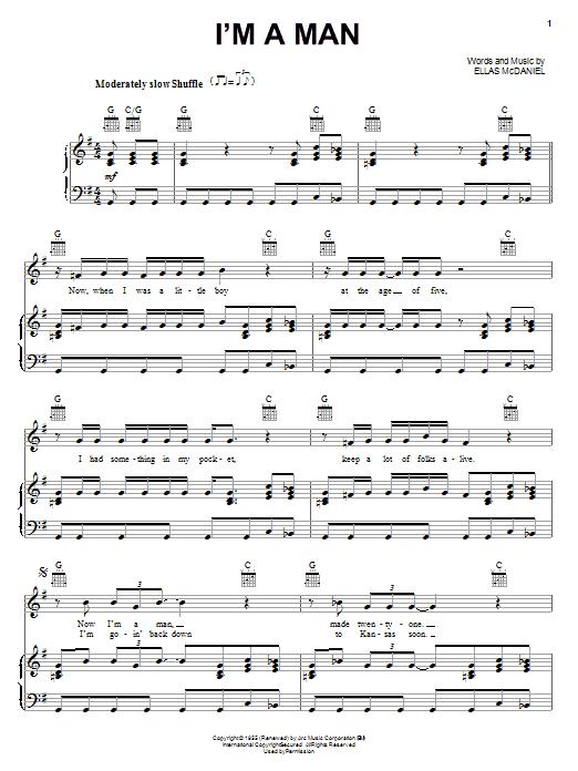 Partition piano I'm A Man de Bo Diddley - Piano Voix Guitare (Mélodie Main Droite)