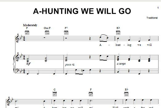 Partition piano A-Hunting We Will Go de Traditional - Piano Voix Guitare (Mélodie Main Droite)