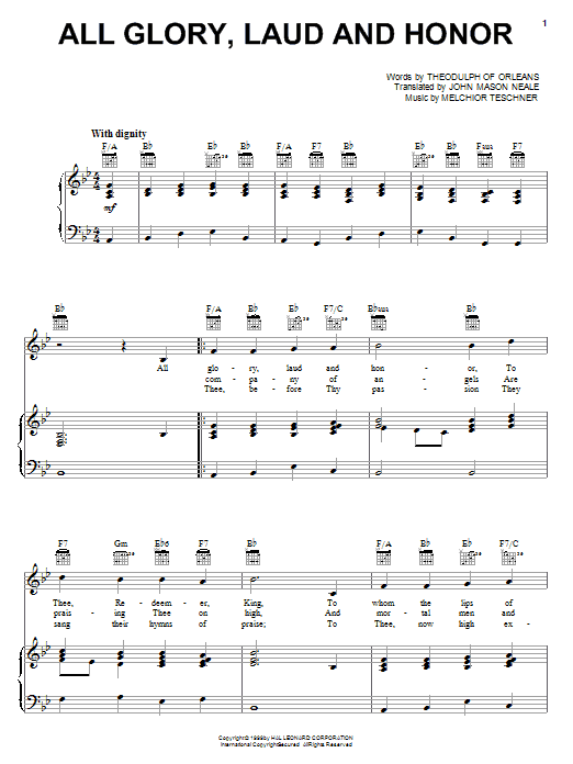 Partition piano All Glory, Laud And Honor de John Mason Neale - Piano Voix Guitare (Mélodie Main Droite)