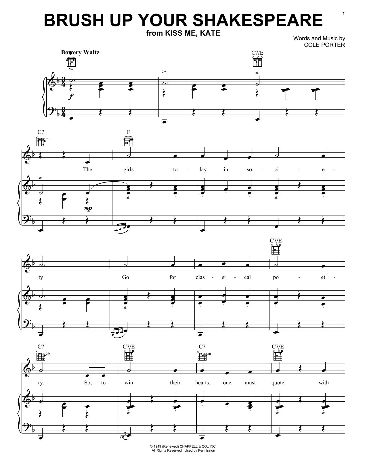Partition piano Brush Up Your Shakespeare de Cole Porter - Piano Voix Guitare (Mélodie Main Droite)