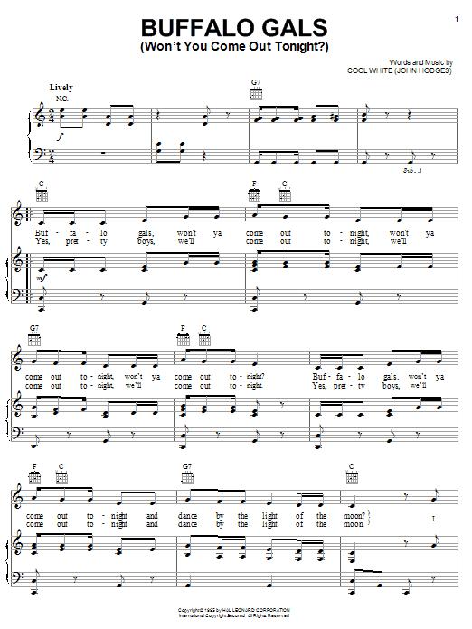 Partition piano Buffalo Gals (Won't You Come Out Tonight?) de Cool White - Piano Voix Guitare (Mélodie Main Droite)