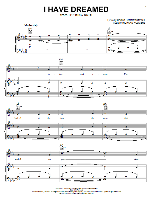 Partition piano I Have Dreamed (from The King And I) de Rodgers & Hammerstein - Piano Voix Guitare (Mélodie Main Droite)