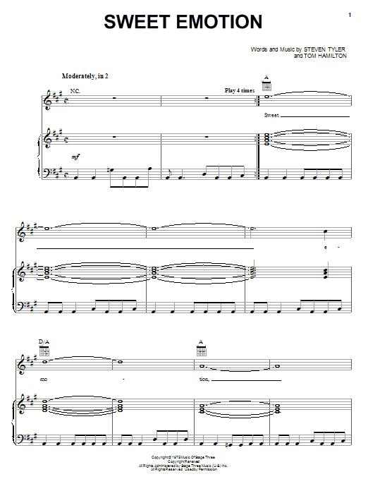 Partition piano Sweet Emotion de Aerosmith - Piano Voix Guitare (Mélodie Main Droite)
