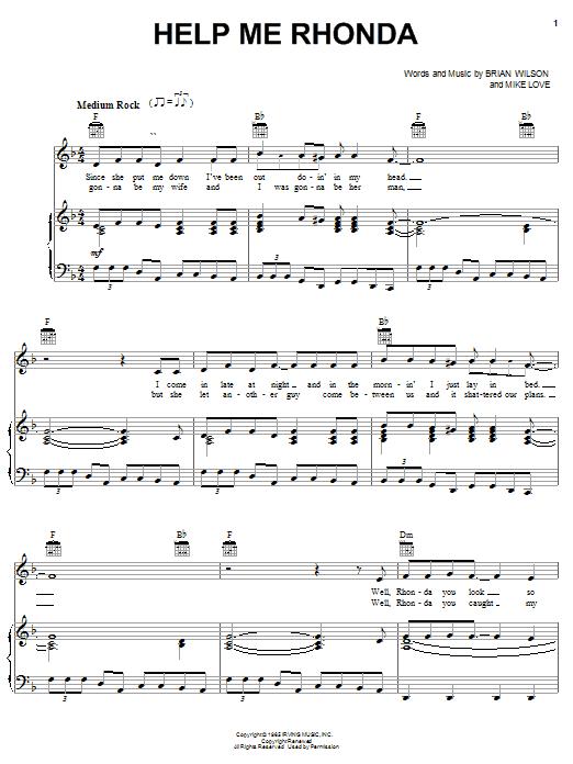Partition piano Help Me Rhonda de The Beach Boys - Piano Voix Guitare (Mélodie Main Droite)