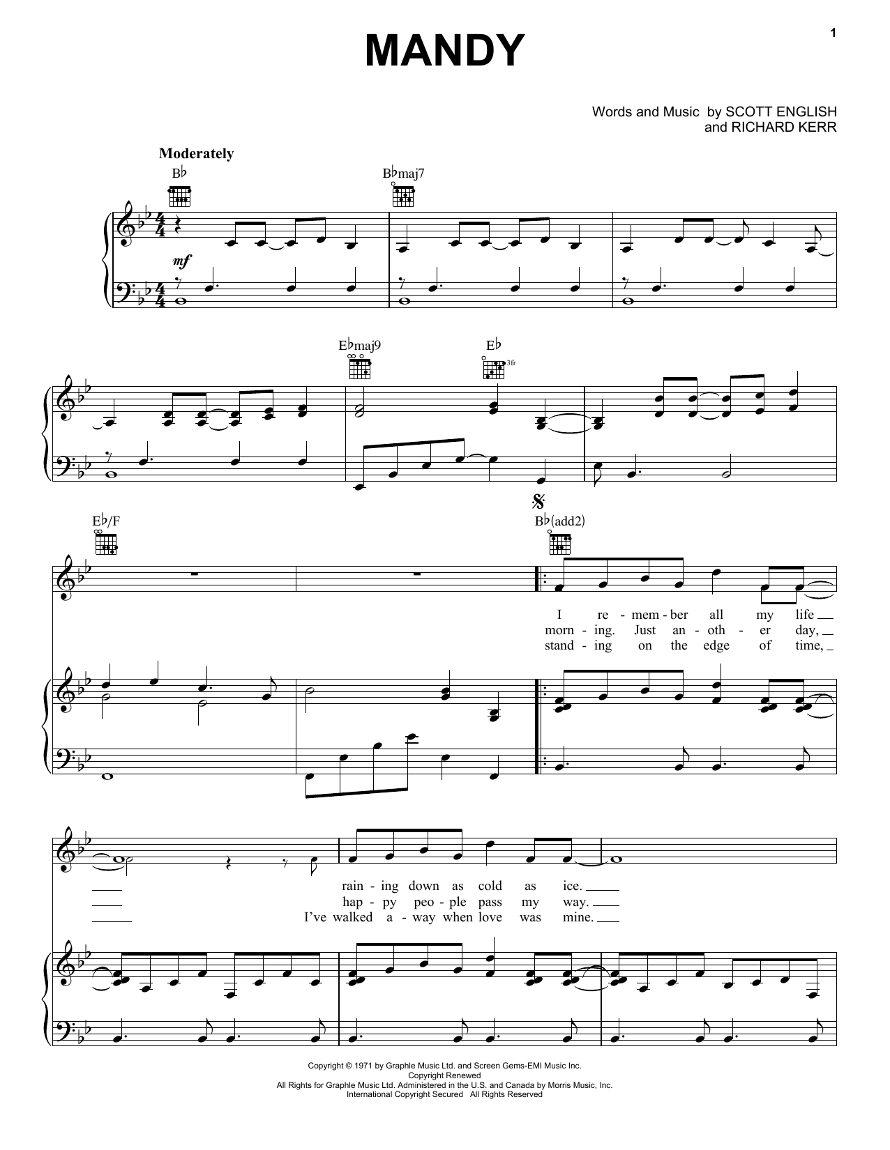 Partition piano Mandy de Barry Manilow - Piano Voix Guitare (Mélodie Main Droite)
