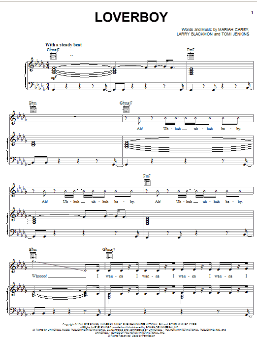 Partition piano Loverboy de Mariah Carey - Piano Voix Guitare (Mélodie Main Droite)