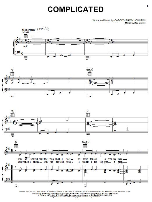 Partition piano Complicated de Carolyn Dawn Johnson - Piano Voix Guitare (Mélodie Main Droite)