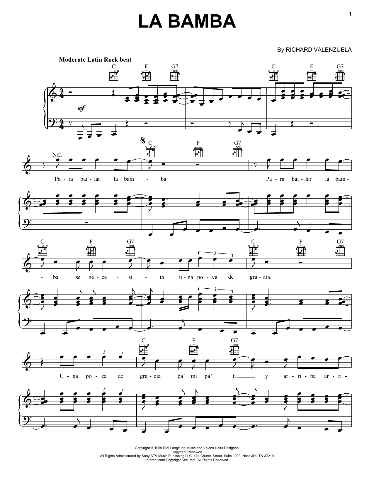La Bamba sheet music for voice, piano or guitar by Ritchie Valens