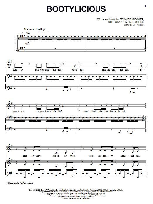 Partition piano Bootylicious de Destiny's Child - Piano Voix Guitare (Mélodie Main Droite)