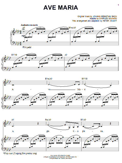 Partition piano Ave Maria de Carpenters - Piano Voix Guitare (Mélodie Main Droite)