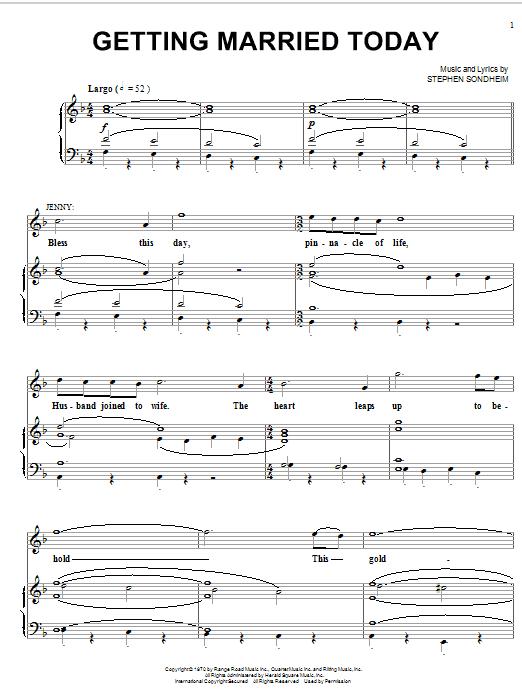 Partition piano Getting Married Today de Stephen Sondheim - Piano Voix Guitare (Mélodie Main Droite)