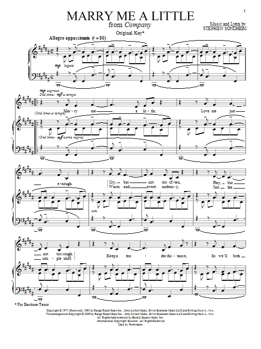 Partition piano Marry Me A Little de Stephen Sondheim - Piano Voix Guitare (Mélodie Main Droite)