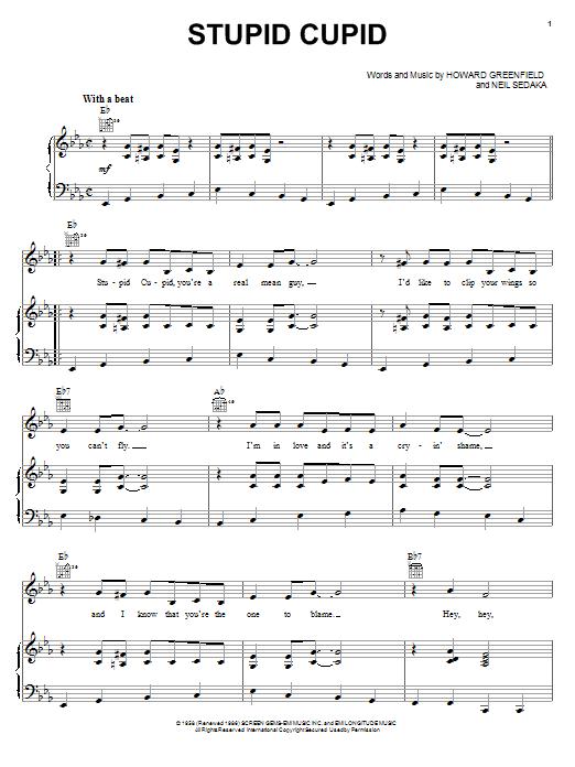 Partition piano Stupid Cupid de Connie Francis - Piano Voix Guitare (Mélodie Main Droite)