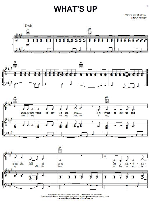 Partition piano What's Up de 4 Non Blondes - Piano Voix Guitare (Mélodie Main Droite)