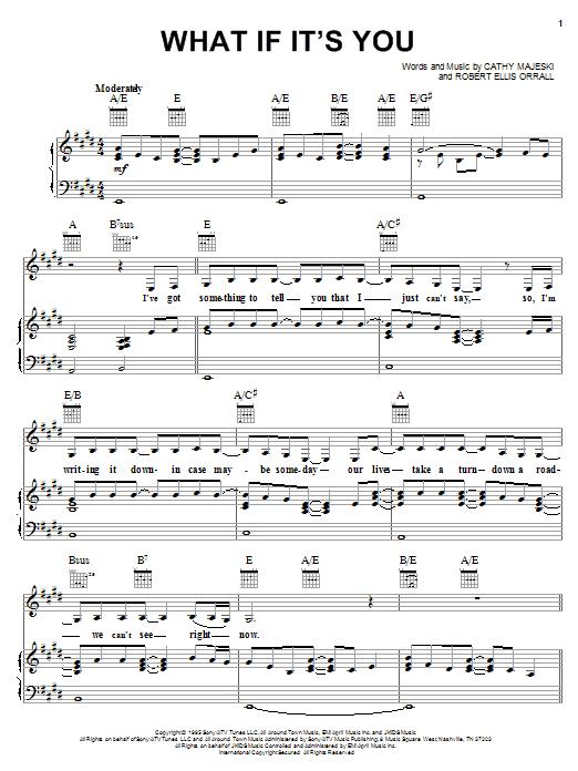 Partition piano What If It's You de Reba McEntire - Piano Voix Guitare (Mélodie Main Droite)