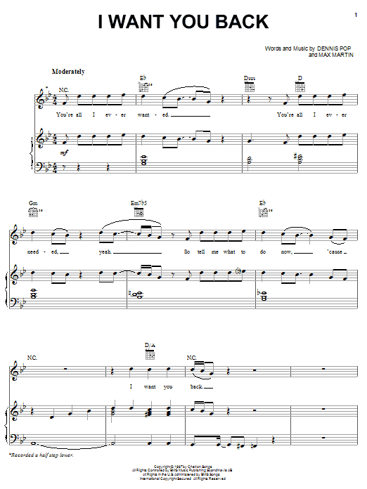 I Want You Back sheet music for voice, piano or guitar by Max Martin