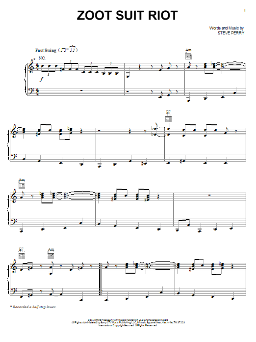 Partition piano Zoot Suit Riot de The Cherry Poppin' Daddies - Piano Voix Guitare (Mélodie Main Droite)