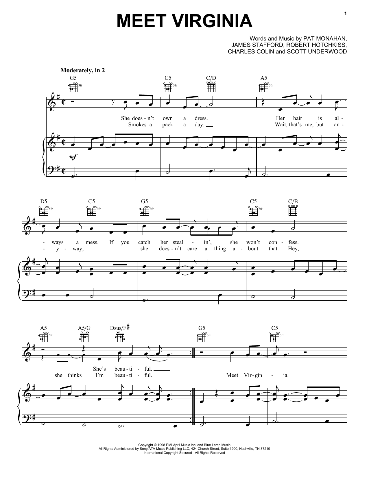 Partition piano Meet Virginia de Train - Piano Voix Guitare (Mélodie Main Droite)
