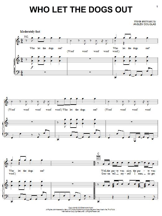 Partition piano Who Let The Dogs Out de The Baha Men - Piano Voix Guitare (Mélodie Main Droite)