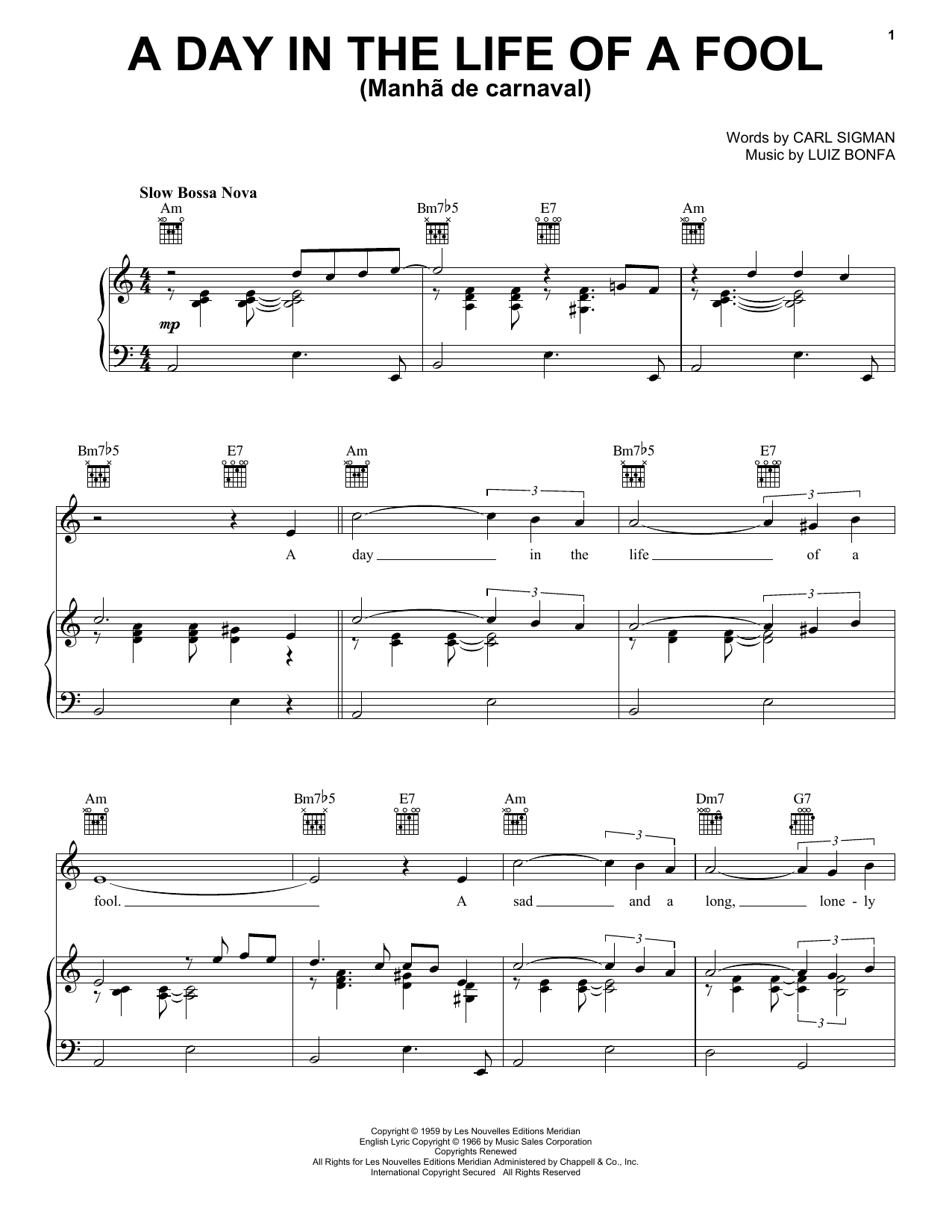 Day in the life of a fool manha de carnaval sheet music direct