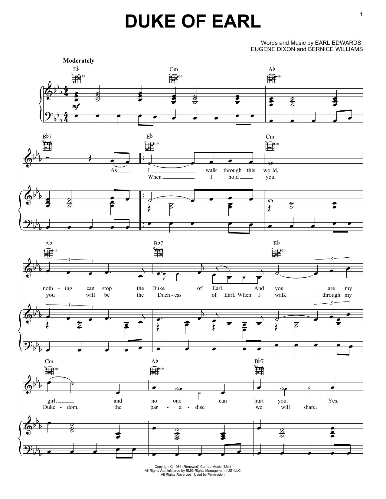 Partition piano Duke Of Earl de Gene Chandler - Piano Voix Guitare (Mélodie Main Droite)