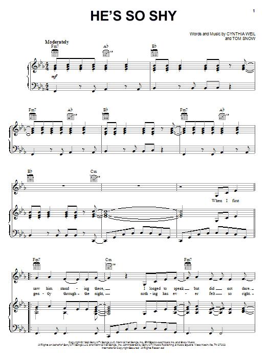 Partition piano He's So Shy de The Pointer Sisters - Piano Voix Guitare (Mélodie Main Droite)