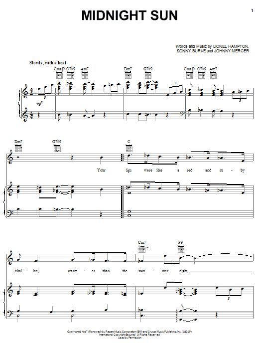 Partition piano Midnight Sun de Johnny Mercer - Piano Voix Guitare (Mélodie Main Droite)