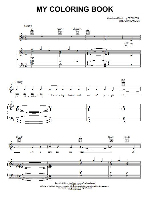 Partition piano My Coloring Book de Fred Ebb - Piano Voix Guitare (Mélodie Main Droite)