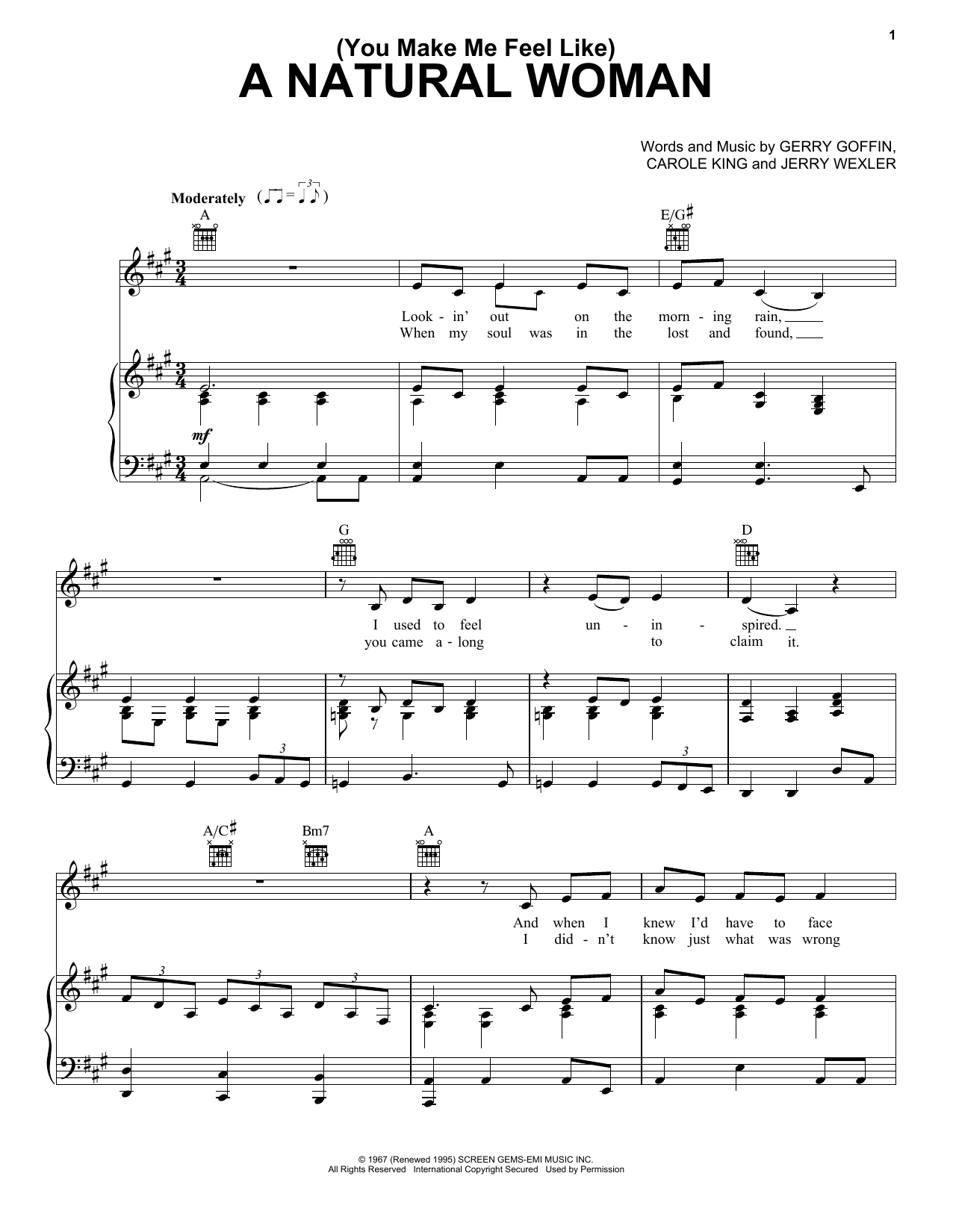 (You Make Me Feel Like) A Natural Woman sheet music for voice, piano or guitar by Jerry Wexler