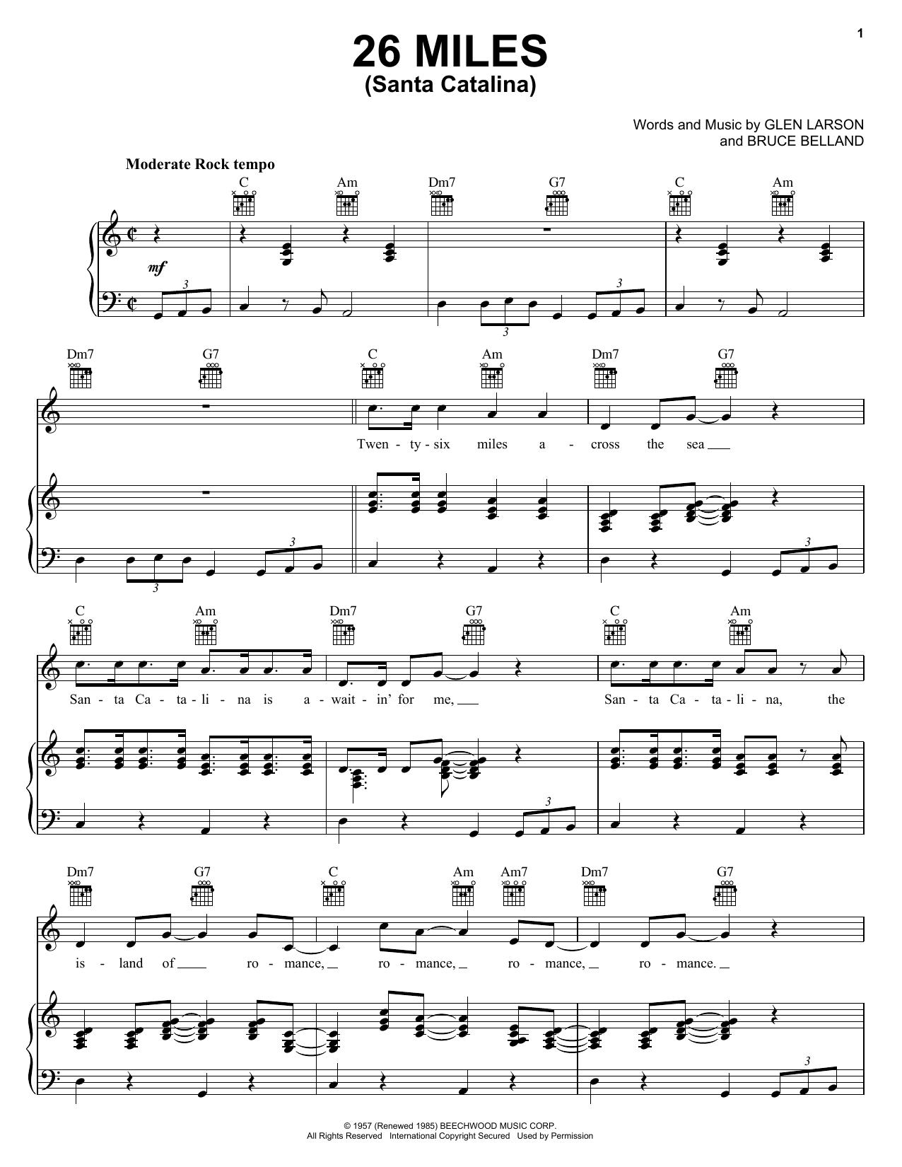 Partition piano 26 Miles (Santa Catalina) de The Four Preps - Piano Voix Guitare (Mélodie Main Droite)