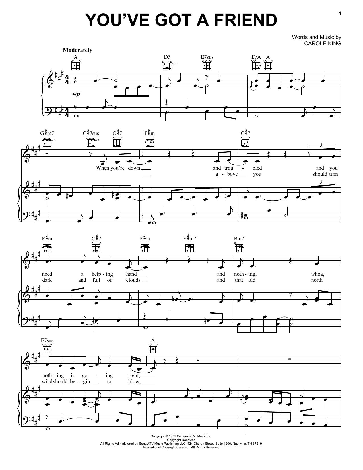 Partition piano You've Got A Friend de Carole King - Piano Voix Guitare (Mélodie Main Droite)