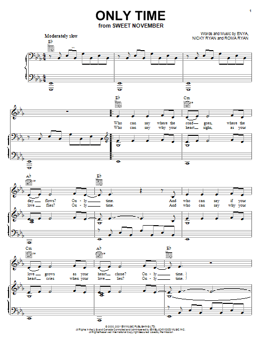 Only Time sheet music for voice, piano or guitar by Roma Ryan