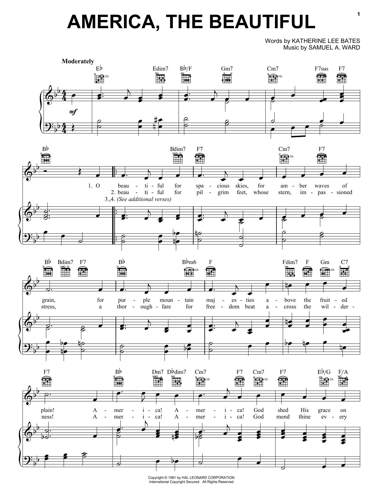 Partition piano America, The Beautiful de Katherine Lee Bates - Piano Voix Guitare (Mélodie Main Droite)