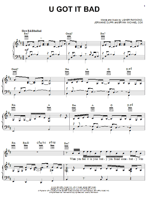 U Got It Bad sheet music for voice, piano or guitar by Usher Raymond