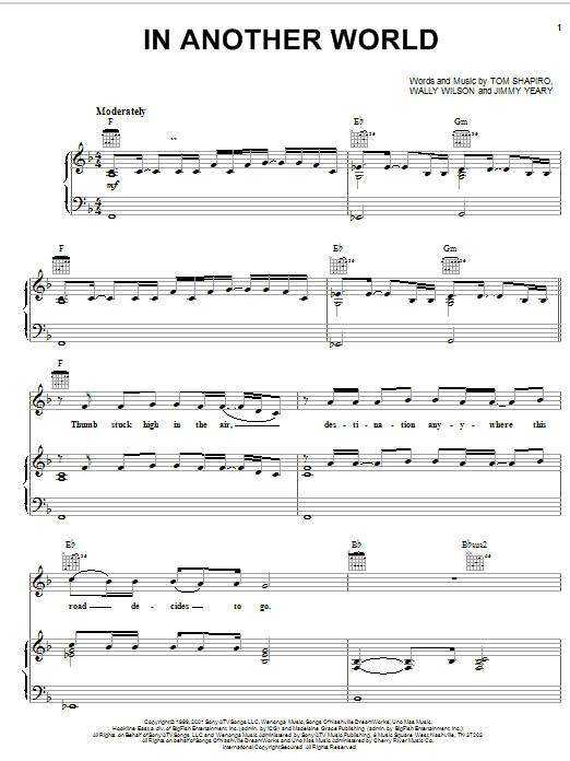 In Another World sheet music for voice, piano or guitar by Wally Wilson