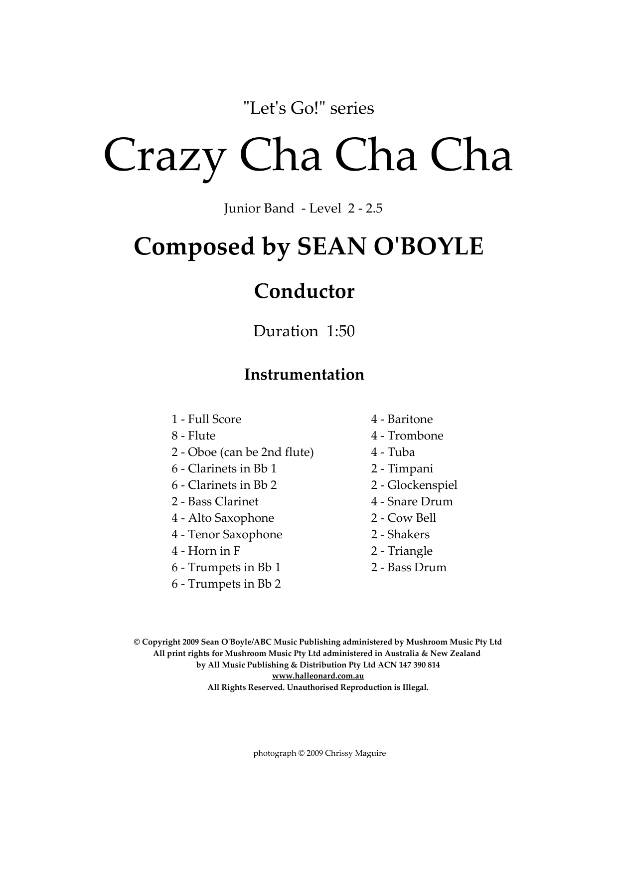 Crazy Cha Cha Cha (COMPLETE) sheet music for concert band by Sean O'Boyle
