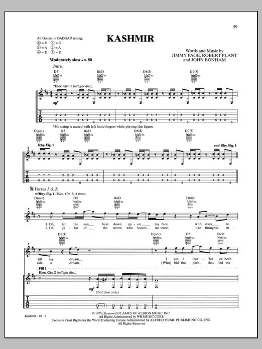 Tablature guitare Kashmir de Led Zeppelin - Tablature Guitare