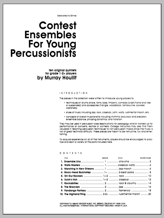 Contest Ensembles For Young Percussionists (COMPLETE) sheet music for percussions by Houllif