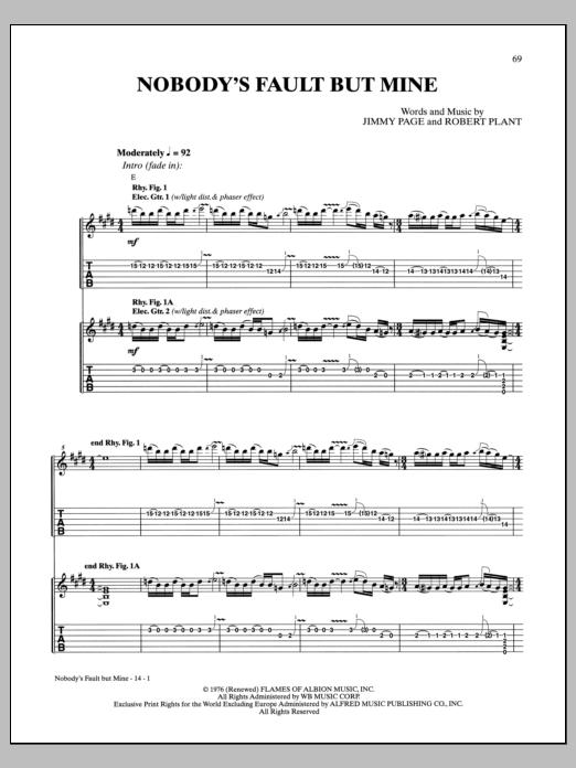 Tablature guitare Nobody's Fault But Mine de Led Zeppelin - Tablature Guitare
