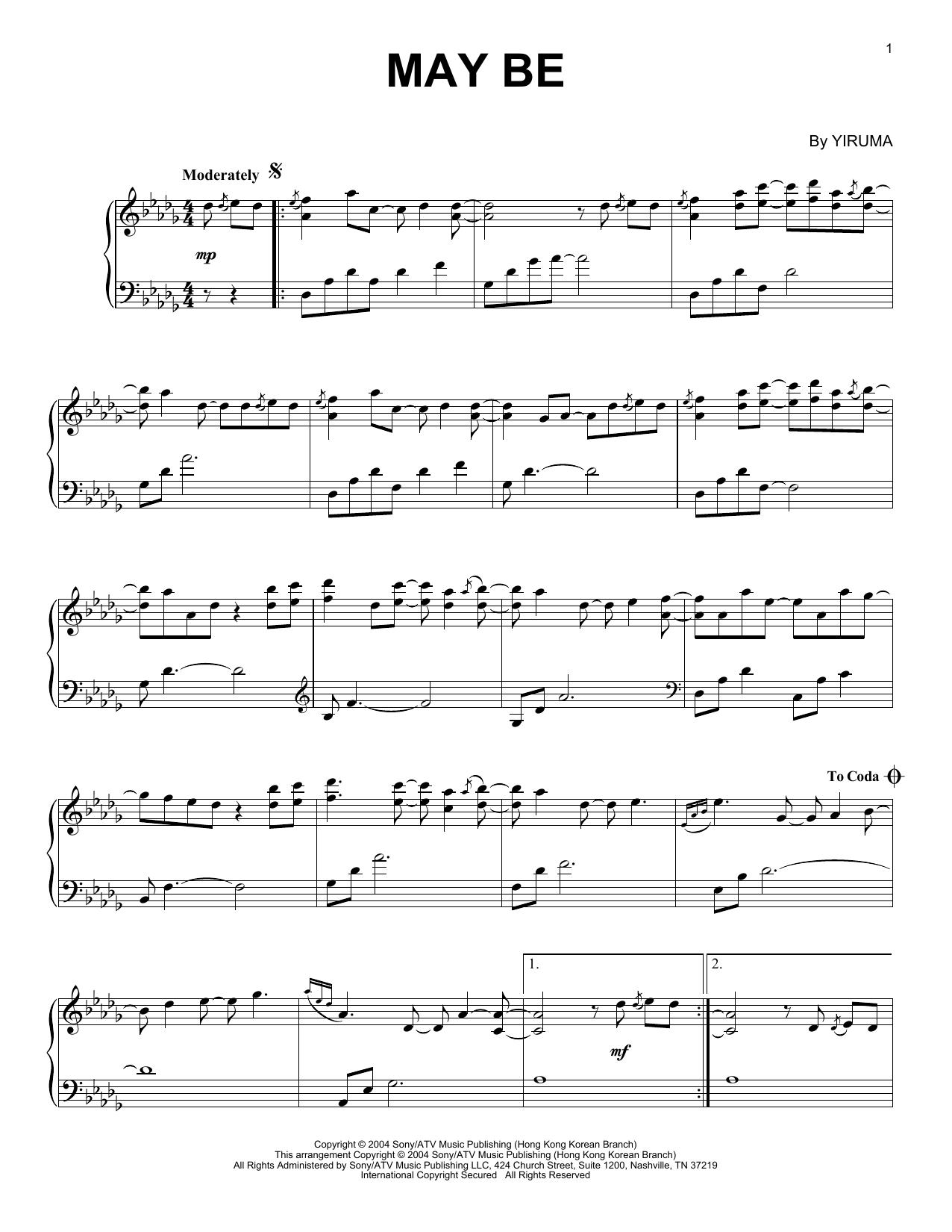 Partition piano May Be de Yiruma - Piano Solo