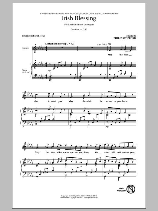 Partition chorale Irish Blessing de Philip Stopford - SATB