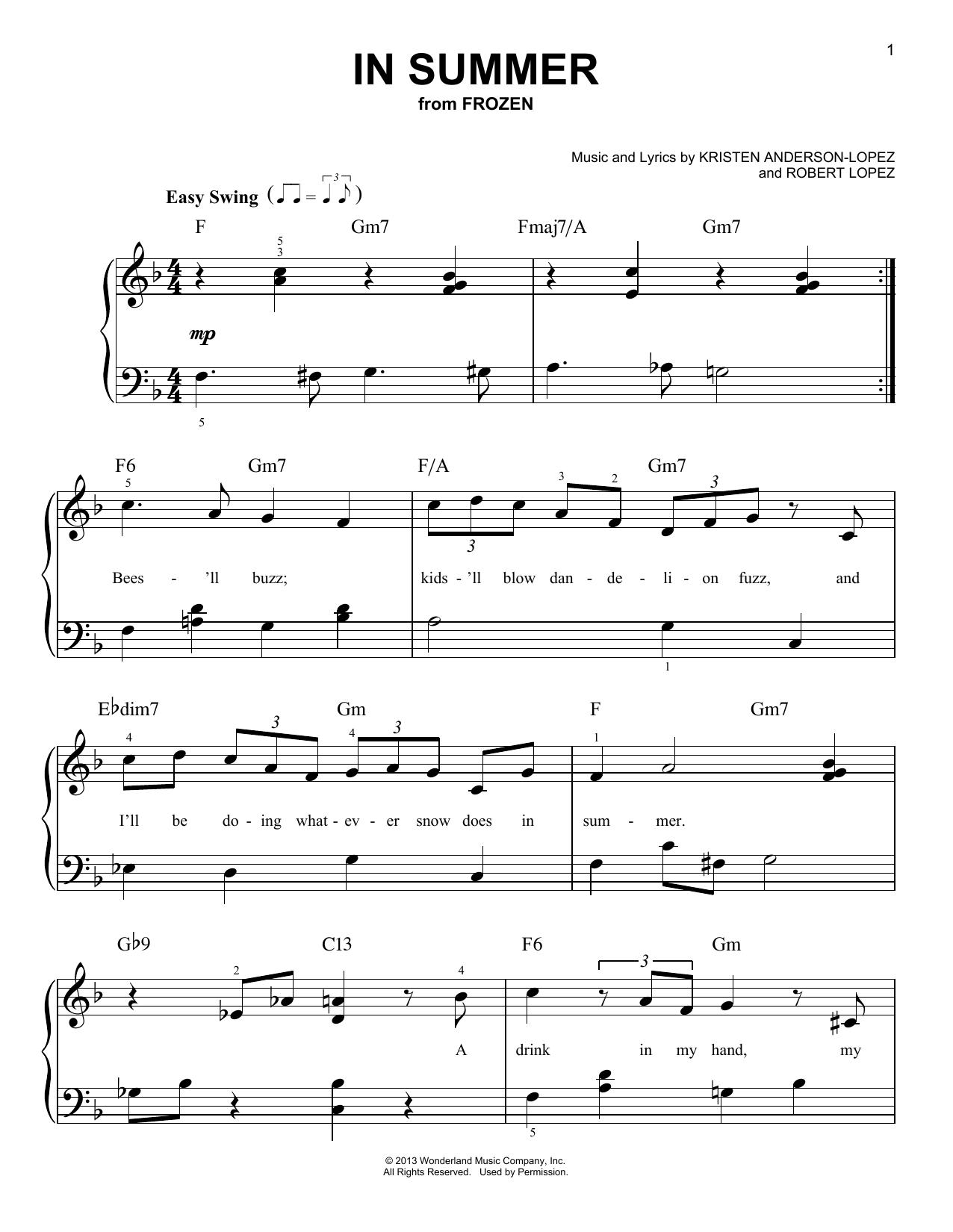 Partition piano In Summer de Kristen Anderson-Lopez - Piano Facile