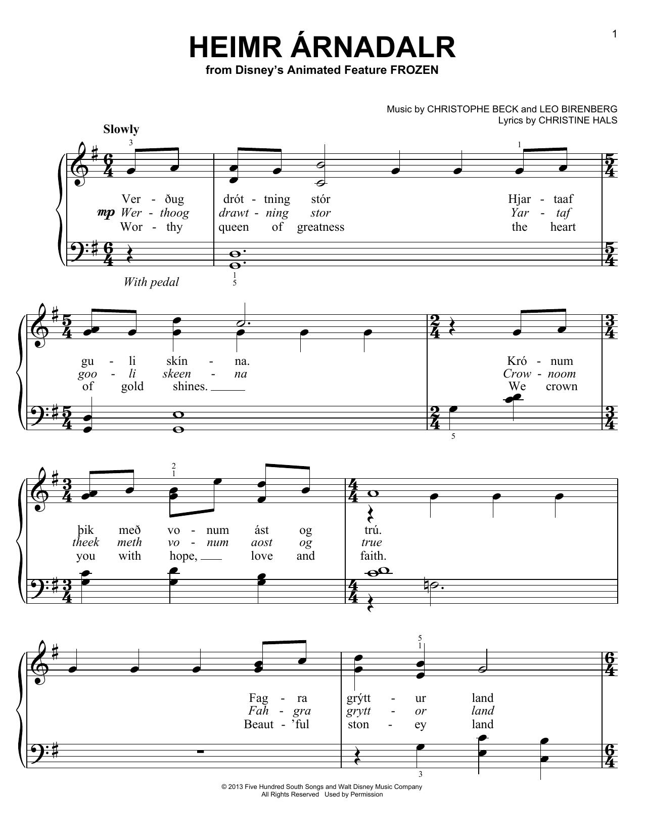 Partition piano Heimr Arnadalr de Christophe Beck - Piano Facile