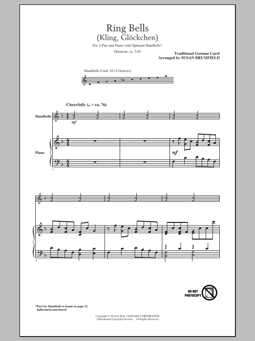 Partition chorale Kling, Glockchen (Ring, Merry Bell) de  - 2 voix
