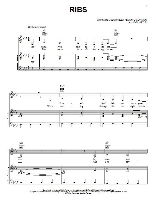 Sheet Music Digital Files To Print Licensed Lorde Digital Sheet Music