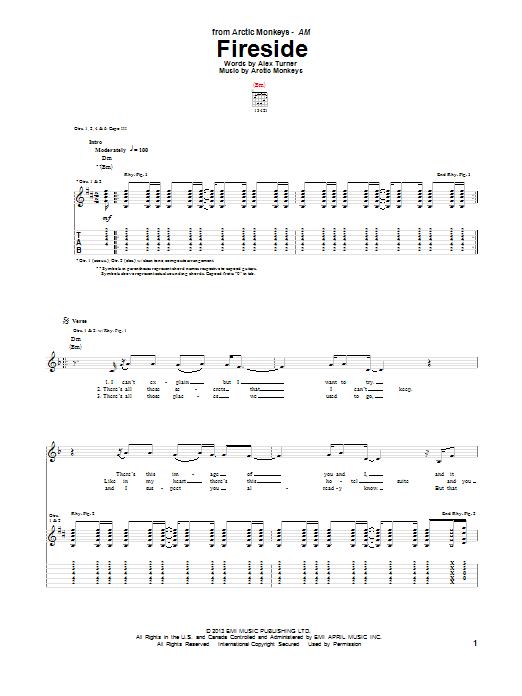 Tablature guitare Fireside de Arctic Monkeys - Tablature Guitare